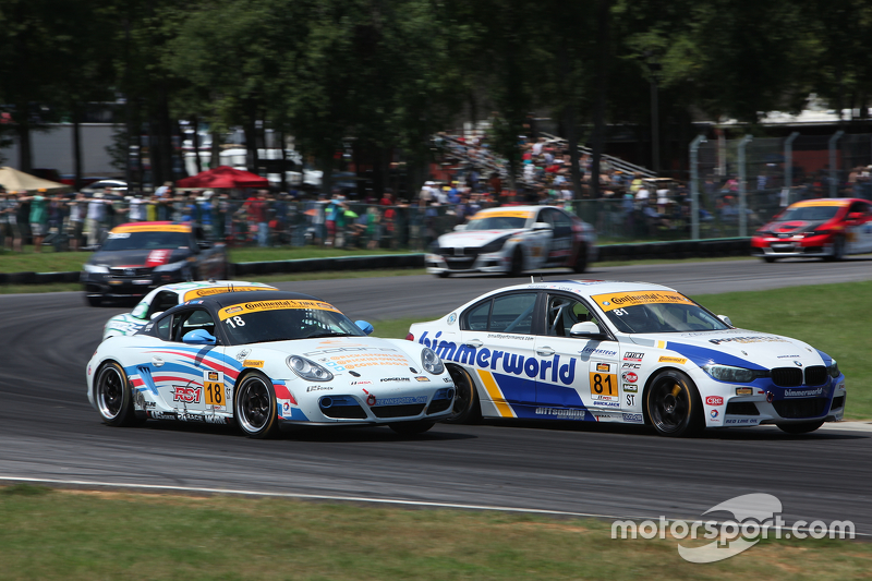 #81 BimmerWorld Racing BMW328i: Andrie Hartanto, Tyler Cooke and #18 RS1 Porsche Cayman: Dylan Murcott, Gary Browne