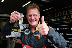 The Lotus F1 Team celebrate third position for Romain Grosjean, Lotus F1 Team