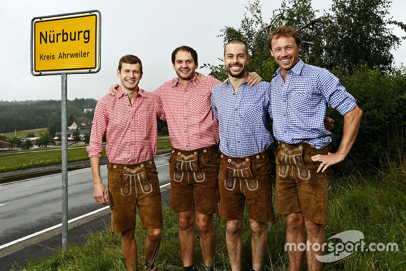 Michael Christensen, Richard Lietz, Frédéric Makowiecki, Patrick Pilet, Porsche Team in traditional German attire