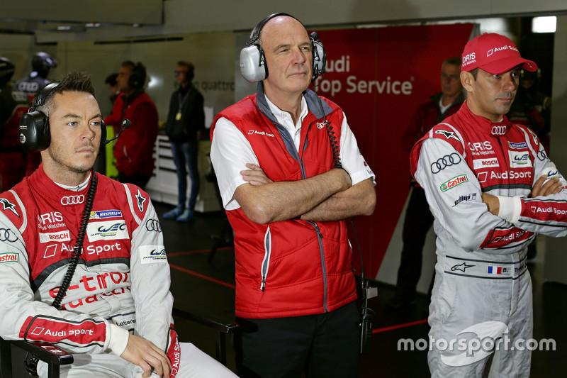 Dr. Wolfgang Ullrich, Audi-Sportchef, mit Benoit Tréluyer und André Lotterer, Audi Sport Team Joest