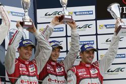 Overall podium: third place #7 Audi Sport Team Joest Audi R18 e-tron quattro: Marcel Fässler, Andre Lotterer, Benoit Tréluyer