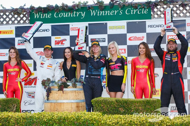 GTA podium: First place #7 TRG-AMR Aston Martin Vantage GT3: Christina Nielsen, second place #66 DragonSpeed Mercedes-Benz AMG SLS GT3: Frank Montecalvo, third place #30 NGT Motorsport Ferrari 458: Henrique Cisneros