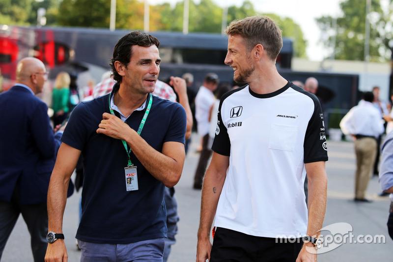 Pedro De La Rosa, Ferrari-Entwicklungsfahrer, mit Jenson Button, McLaren