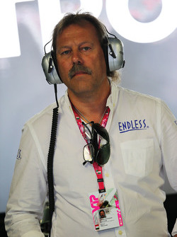 Lucas Nylund, Endless Brake Technology Europe Manager in the Mercedes AMG F1 pit garage