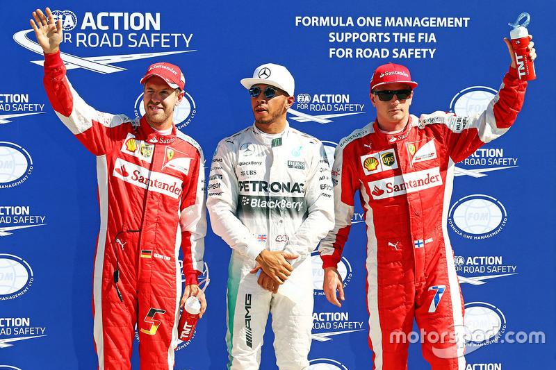 Polesitter Lewis Hamilton, Mercedes AMG F1 Team, second place Kimi Raikkonen, Ferrari, third place S