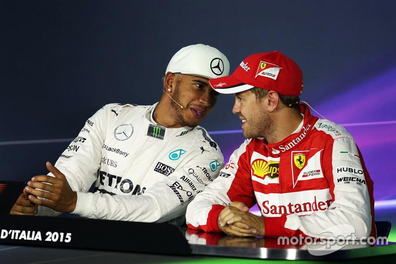Lewis Hamilton, Mercedes AMG F1 Team y Sebastian Vettel, Ferrari