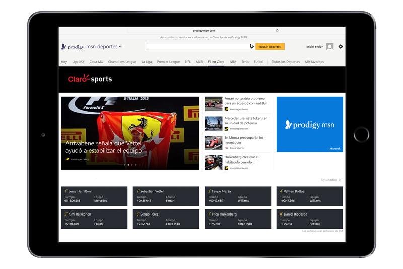 Screenshot der Motorsport.com Inhalte auf der Prodigy/MSN-Webseite