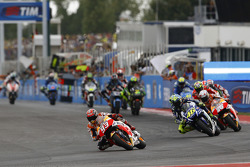 Marc Marquez, Repsol Honda Team e Valentino Rossi, Yamaha Factory Racing e Dani Pedrosa, Repsol Honda Team