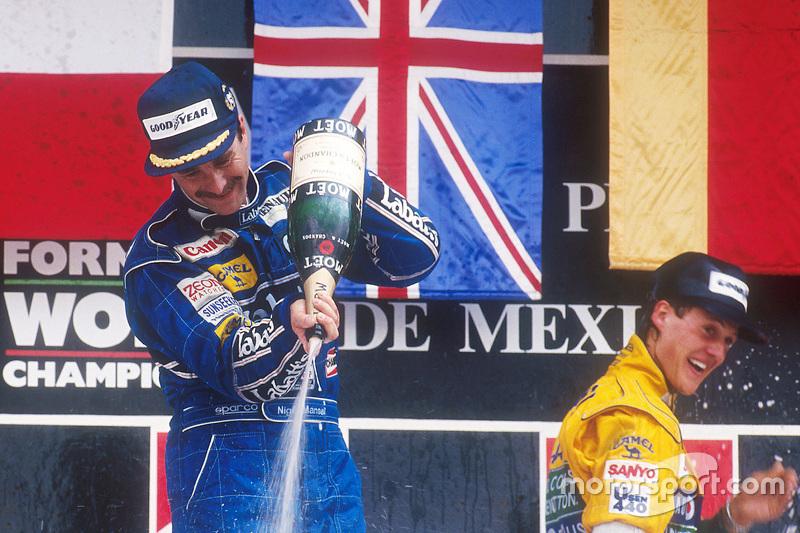 Подіум: переможець гонки Найджел Менселл, третє місце Міхаель Шумахер