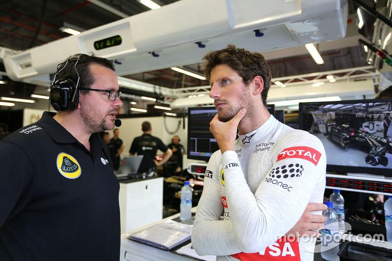 Julien Simon-Chautemps, Renningenieur, Lotus F1 Team, mit Romain Grosjean, Lotus F1 Team