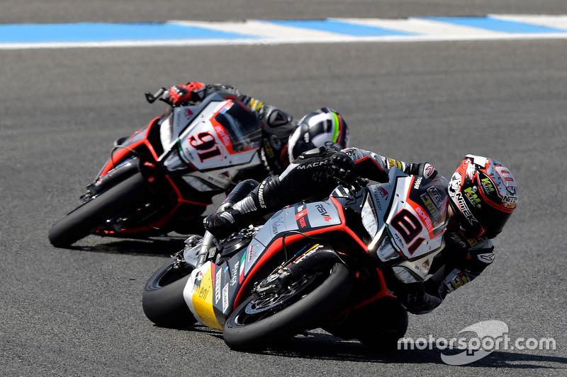 Jordi Torres, Aprilia Racing Team; Leon Haslam, Aprilia Racing Team