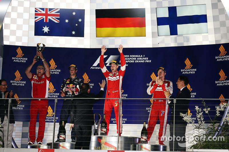 Podium: 1. Sebastian Vettel, Ferrari, 2. Daniel Ricciardo, Red Bull Racing, 3. Kimi Räikkönen, Ferra