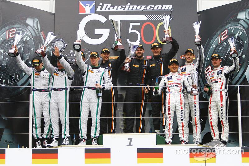 Podium: winners Shane van Gisbergen, Rob Bell, Kevin Estre, Von Ryan Racing, second place Steven Kan