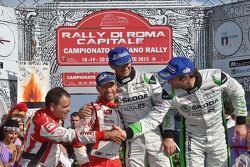 Podio: Umberto Scandola e Guido D'Amore, Skoda Motorsport Italia, Giandomenico Basso e Lorenzo Granai, BRC