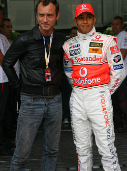 Actor Jude Law and Lewis Hamilton
