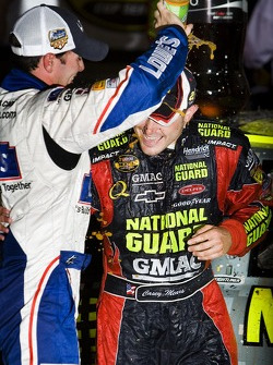 Victory lane: race winner Casey Mears celebrates with Jimmie Johnson