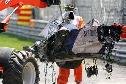 Роберт Кубіца, BMW Sauber F1 Team, F1.07, розбиває машину дуже сильно в гонці