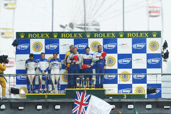 LMP2 podium: class winners William Binnie, Allen Timpany, Chris Buncombe, second place Adrian Fernandez, Haruki Kurosawa, Robbie Kerr