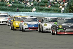 The GT cars ran in packs all day