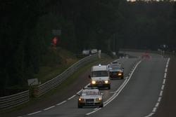 Ambulance and service vehicles on the track after the crash of the #53 JLOC ISAO Noritake Lamborghini Murcielago