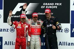 Podium: race winner Fernando Alonso with Felipe Massa and Mark Webber