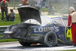 Fire damage on the Lowe's Chevy of Jimmie Johnson