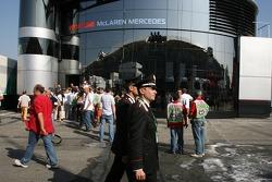 Carabinieri police officer outside McLaren Mercedes
