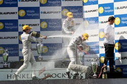 Podium: race winner Jamie Green, Team HWA AMG Mercedes, AMG Mercedes C-Klasse in the middle of the champagne shower On the right Gerhard Ungar, Chief Designer AMG