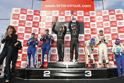 GT1 podium: class and overall winners Miguel Ramos and Christian Montanari, second place Karl Wendlinger and Ryan Sharp, third place Anthony Kumpen and Bert Longin, Citation Cup winners Ben Aucott and Alain Ferté