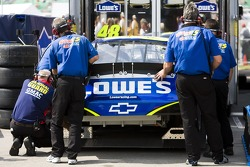 The Lowe's Chevrolet team are forced to go to their back up car after Jimmie Johnson crashes