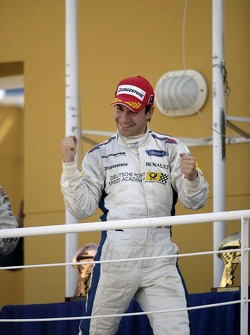 Timo Glock celebrates winning the 2007 GP2 Series title on the podium