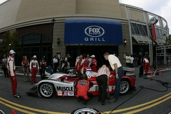 Petit Preview Party at Atlantic Station: Team Cytosport team members work on the Lola B06/14 AER after the pitstop demo
