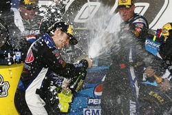 Victory lane: race winner Jeff Gordon celebrates with champagne