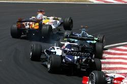 Giancarlo Fisichella, Renault F1 Team, R27, Jenson Button, Honda Racing F1 Team, RA107 and Kazuki Nakajima, Williams F1 Team, FW29