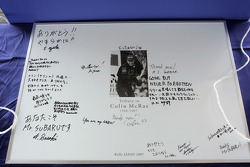Tribute to Colin McRae displayed for fans to sign