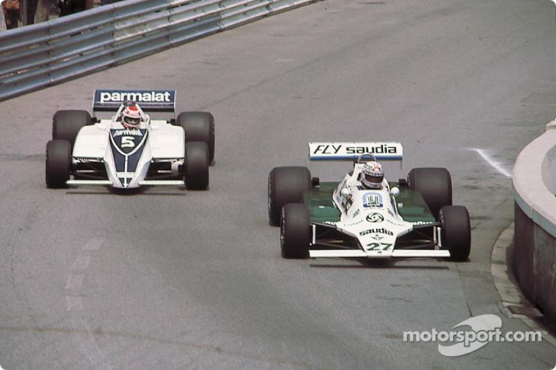 Alan Jones et Nelson Piquet lors du GP de Monaco 1980
