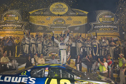 Championship victory lane: 2007 NASCAR Nextel Cup champion Jimmie Johnson celebrates