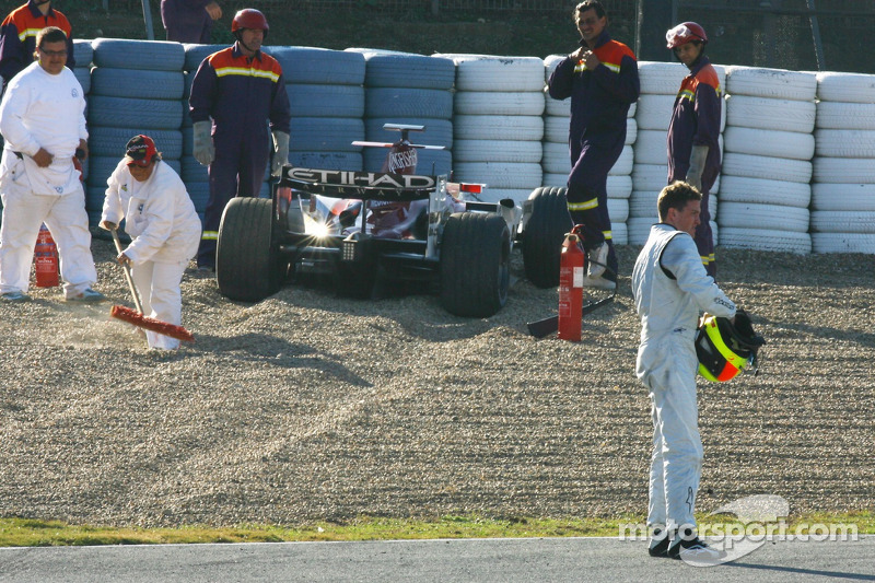 Ralf Schumacher con el Force India F1 Team accidentado (2007)