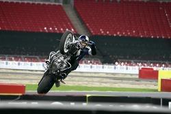 Chris Pfeiffer on his BMW motorbike