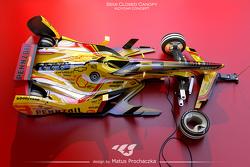 Mögliche Designs für IndyCars der Generation 2035 mit halbgeschlossenen Cockpithauben