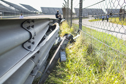 Damaged safety barrier