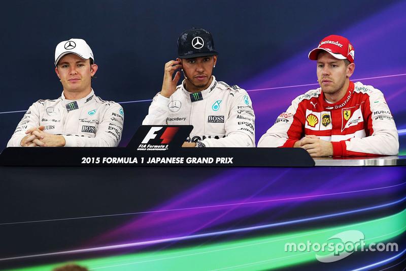 Pressekonferenz: 1. Lewis Hamilton, Mercedes AMG F1 Team; 2. Nico Rosberg, Mercedes AMG F1 Team; 3.
