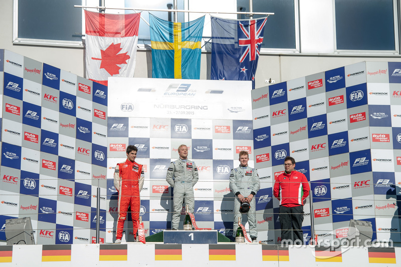 Podium: winner Felix Rosenqvist, Prema Powerteam, second place Lance Stroll, Prema Powerteam, third place Nick Cassidy, Prema Powerteam
