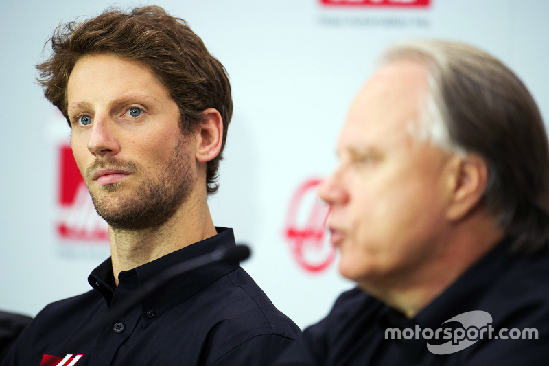 Romain Grosjean, Haas F1 Team and Gene Haas, Haas F1 Team
