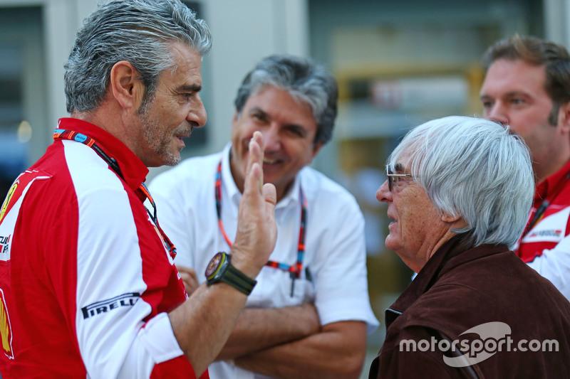 (L to R): Maurizio Arrivabene, Ferrari Team Principal with Bernie Ecclestone