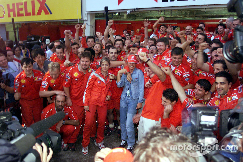 Ferrari team celebrates 2000 World Drivers Championship