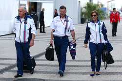 (L to R): Edward Charlton, Williams Non-Executive Director with Mike O'Driscoll, Williams Group CEO and Claire Williams, Williams Deputy Team Principal