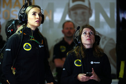 (L to R): Carmen Jorda, Lotus F1 Team Development Driver with Clarisse Hoffmann, Lotus F1 Team Media Communications Manager