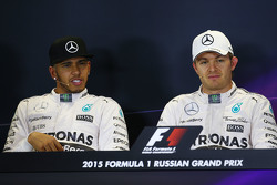 (L to R): Lewis Hamilton, Mercedes AMG F1 and team mate Nico Rosberg, Mercedes AMG F1 in the post qualifying FIA Press Conference