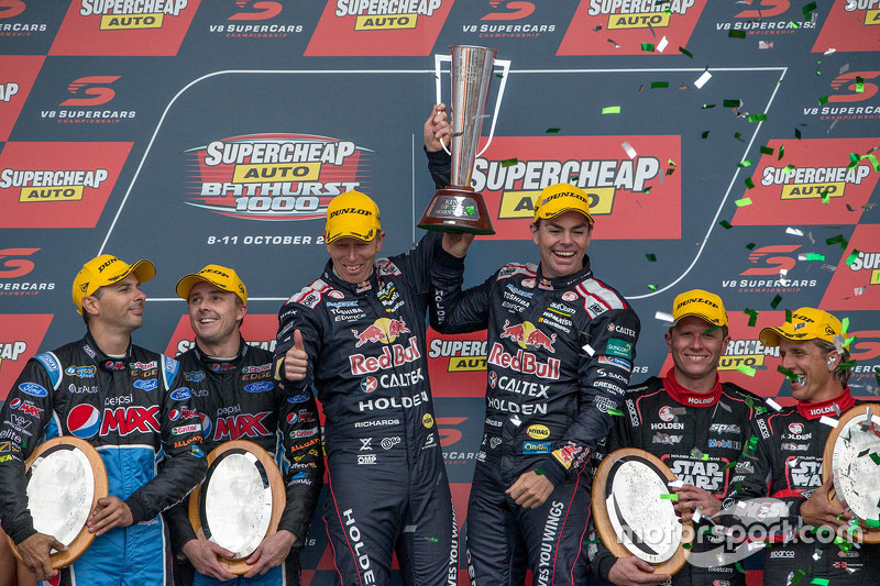 Podium: winners Craig Lowndes and Steven Richards, Triple Eight Race Engineering Holden, second place Mark Winterbottom and Steve Owen, Prodrive Racing Australia Ford, third place Garth Tander and Warren Luff, Holden Racing Team